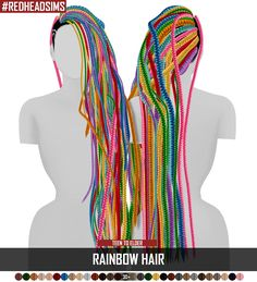 Coupure Electrique: Rainbow hair dread versoin - Sims 4 Hairs - http://sims4hairs.com/coupure-electrique-rainbow-hair-dread-versoin/