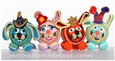Crochet Amigurumi Bunnies for the Gift or Baby Mobile. Free pattern.