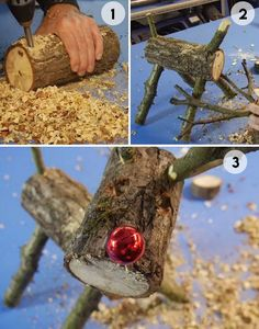 How to Make a Wooden Log Reindeer - DIY Rustic Christsmas Decor Ideas for the Home Outdoor Christmas Reindeer, Christmas Log, Christmas Wood Crafts, Diy Christmas Ornaments, Christmas Projects, Holiday Crafts, Reindeer Decorations, Christmas Decorations, Wooden Reindeer