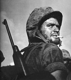 The Greek face of the US Marine Corps: Sgt Angelo Spiros Klonis during the Battle of Saipan. Klonis, a Greek immigrant from Cephalonia, became one of the iconic images of WW2 thanks to famed photographer W. Eugene Smith. One of Smith's photos of Klonis became a LIFE magazine cover and, in 2002, a US postal stamp. See more on Kloni's story: http://digitaljournalist.org/issue0510/swanson.html