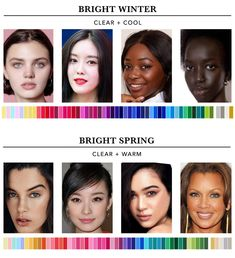 Find out which season you are in the twelve seasons colour analysis. This will help you determine the most harmonious colours for you. Winter Colors, Spring Colors, Clear Winter, Clear Spring, Skin Color Palette, Colors For Dark Skin, Seasonal Color Analysis, Bright Spring, Warm Spring