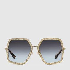 5a91eb34758 Oversize square-frame metal sunglasses