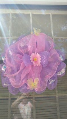 Pink and purple butterfly mesh wreath
