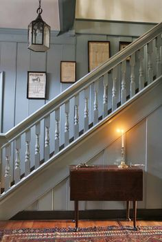 Staircase from Colonial Williamsburg. A table with only the candlestick. Lofts, American Interior, Interior And Exterior, Interior Design, Colonial Williamsburg, House Stairs, Stairways, Old Houses, Sweet Home