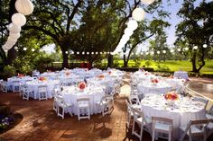 Outdoor reception with lots of white lanterns! | Photography By / http://catherinehall.net