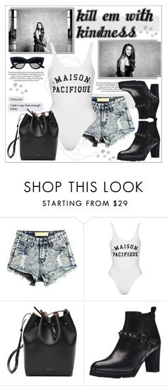 """""""Your lies are bullets,your mouth's a gun"""" by kitty-kat9 ❤ liked on Polyvore featuring Topshop, Mansur Gavriel, Anyi Lu, Summer, YSL, selenagomez and swimwear"""