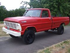 '67 F250, my Grandfather had one just like this. I LOVE red trucks with white front end treatment, classy