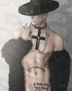 ***  David Heather - Drip Brim Hat/Black  Gabriel -Slave chain necklace  Gabriel -Offshoulder Black fur  kunst - Long Cig Holder plain  Bolson -Preacher Tattoo (for TMP body)  RKPoses -Jude 5  ***  https://www.youtube.com/watch?v=RDKxL0FyV5g  ♛ ♛ ♛   #Bento #bolson #CIGARETTE #Clothing #Collar #David Heather #Fashion #Fur #GABRIEL #hat #Kunst #male clothing #male fashion #Marcus Lefevre #mesh #NECKLACE #Second Life #SL #Sport #TAT