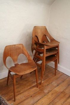 stack of walnut chairs