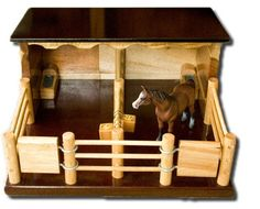 I like the dark varnish, and that there's only half a roof - i think that makes play easier. Two Horse Stable -Handmade Wooden Toy - by Country Toys - Handmade Wooden Trucks and Toys Wooden Toy Farm, Wooden Truck, Wooden Barn, Toy Horse Stable, Horse Stables, Horse Crafts, Wood Crafts, Toy Barn, Handmade Wooden Toys