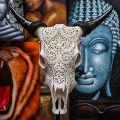 Beautiful Hand Carved Steer/ Cow Skull with Horns/ by AureusArts  sooo cool