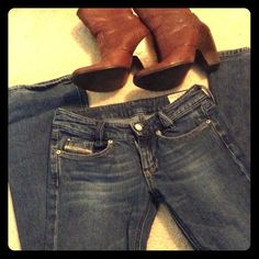 """*Hot* DIESEL jeans """"Louvely"""" 26x32 Love but they don't fit :( Perfect soft, low-rise medium wash jeans but size 26 in Diesel clearly runs very small. Would likely fit a 24/25. Minor wear on back bottom hems (see last photo). 32"""" inseam. 20% OFF 2+ BUNDLES!! Diesel Jeans"""