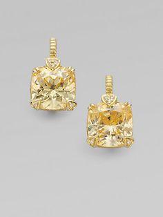 Judith Ripka - Canary Crystal, Diamond & 14K Yellow Gold Cushion Drop Earrings - Saks.com $1,275