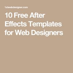 10 Free After Effects Templates for Web Designers