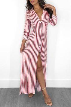 Stripes Long Sleeve Button Up Slit Maxi Shirt Dress Maxi Shirts, Maxi Shirt Dress, Women's Fashion Dresses, Casual Dresses, Fashion Corner, Maxi Robes, Stripes Fashion, Online Dress Shopping, Textiles