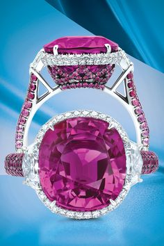 The Martin Katz Pink Sapphire Ring from all angles. Rich color and intricate detail bring this creation to life. Red Jewelry, Luxury Jewelry, Diamond Jewelry, Fine Jewelry, Pink Sapphire Ring, Gem Diamonds, Unusual Jewelry, Pink Bling, Jewelry Collection