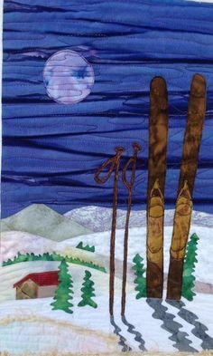 winter art quilt : skiing under the moon | Craftsy