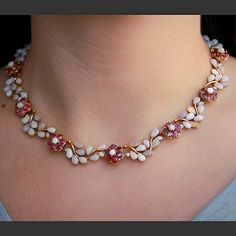Opal and Ruby Flower Necklace-Nate Waxman