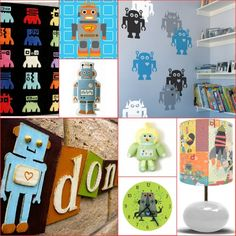 Robot decor-SO cute! We just redid Jayce's room with Robots! I love it! Just need a new rug and we're done!