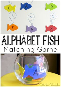 Alphabet Fish Matching Game- Alphabet Fish Matching Game The Alphabet Fish Matching Game combines letter recognition and fine motor skills! It would be a fun activity for a pets or ocean themed preschool unit! Preschool Lesson Plans, Preschool Letters, Preschool Literacy, Alphabet Activities, Literacy Activities, Preschool Ocean Activities, Pet Theme Preschool, Rainbow Fish Activities, Ocean Lesson Plans