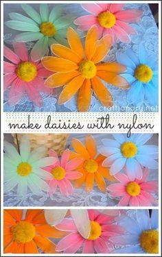 Nylon flower daisy (flower tutorial with full instructions) - Craftionary Nylon Flowers, Tissue Flowers, Giant Paper Flowers, Diy Flowers, Flower Decorations, Fabric Flowers, Flower Crafts, Flower Art, Nylon Crafts