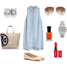 """""""Denim Dress"""" by angelicadonnelly on Polyvore Tory Burch"""