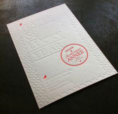 Print : Badcass - Design : Laure Martinez - Carte de voeux en letterpress - #débossagepur #pantone #fluo