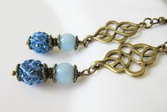 Cobalt blue earrings, vintage style jewelry, by romanticcrafts  #handmade #fashion #jewelry