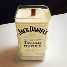 Jack Daniels Tennessee Honey Bottle Candle: 14 oz Honeysuckle Scented Soy Wax Candle in Jack Daniels Honey Bourbon Bottle. Burns for about 70 hours with a wood Bottle Candles, Soy Wax Candles, Diy Candles, Scented Candles, Making Candles, Bottle Lights, Candle Wax, Jack Daniels Gifts, Jack Daniels Bottle