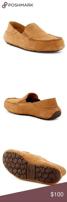 MENS MOCCASINS SLIPPERS LOAFERS FAUX SUEDE LACE /& STRIPED LINING WINTER SHOES