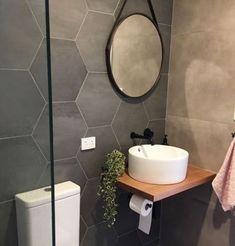 super Ideas for bath room design small grey hexagon tiles bath design 358247345361322610 Hexagon Tile Bathroom, Hexagon Tiles, White Bathroom, Black Bathrooms, Bathroom Mirrors, Master Bathrooms, Bathroom Cabinets, Luxury Bathrooms, Modern Bathrooms