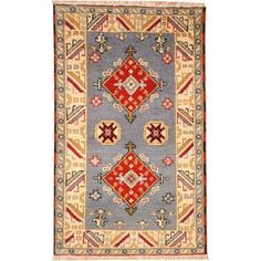 @Overstock - Herat Oriental Indo Hand-knotted Tribal Kazak Blue/ Red Wool Rug (3' x 5') - With a distinctive style, a gorgeous area rug from India will add some splendor to any decor. This Kazak area rug is hand-knotted with a geometric pattern in shades of blue, red, ivory, beige, navy, and green.  http://www.overstock.com/Worldstock-Fair-Trade/Herat-Oriental-Indo-Hand-knotted-Tribal-Kazak-Blue-Red-Wool-Rug-3-x-5/9770721/product.html?CID=214117 $109.99