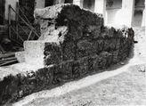 Excavaciones en el Patio Blanco, originalmente claustro del convento mercedario, durante las obras de adaptación a sede de la Diputación en los años 60 del siglo XX.