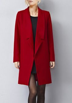 Graceful Lapel Long Sleeve Solid Color Loose-Fitting Coat For Women