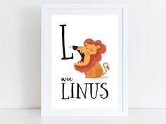 Bilder - Löwe / Lion -Personalisiert Namensbild A4 Ausdruck - ein Designerstück von Rock-Maple-Sugar bei DaWanda