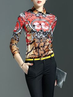 Shop Blouses - Red Printed Casual Polyester Blouse online. Discover unique designers fashion at StyleWe.com.
