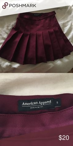 AA Tennis Skirt The iconic AA tennis skirt, worn twice. Excellent condition. In the cranberry/maroon color. Size small. American Apparel Skirts Mini