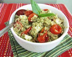 Pesto Quinoa with Roasted Tomatoes and Mozzarella