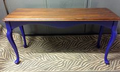 A client brought me this sofa table. It was a plain medium oak color. BORING. Fortunately this client loves bold colors and he picked this purplish-Royal blue. He also wanted the top a VERY dark stain. It is although the picture doesn't capture the darkness.