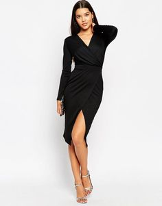 ASOS | ASOS Twist Drape Front Midi Pencil Dress at ASOS