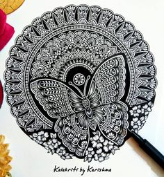 I was suggested to create a Butterfly Mandala by and here's my take on it. Thank you so much, Parul for your… Black Pen Sketches, Black Pen Drawing, Doodle Art Drawing, Mandala Drawing, Art Drawings Sketches, Cool Art Drawings, Mandala Book, Mandala Art Lesson, Mandala Doodle