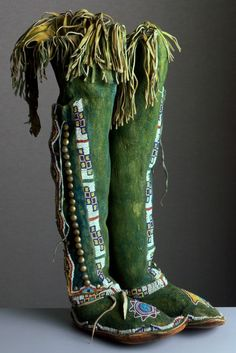High Top Moccasins Crafted by an Unknown Kiowa Artist - using: leather, rawhide, paint, metal, and glass beads - Portland Art Museum Native American Clothing, Native American Beauty, Native American Beadwork, Native American History, American Indians, American Apparel, American Bison, Native Indian, Native Art