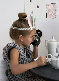 DIY paint chip feather crowns and darling tea party (Misha Lulu dress)