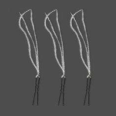 Pic à chignon PLUME 3.  Lot de 3 pics à chignon composés de 3 véritables plumes d'autruche blanches (disponible en ivoire clair).