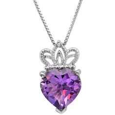 """""""Sterling Silver Amethyst and Diamond Heart with Crown Pendant (3ct... ($40) ❤ liked on Polyvore featuring jewelry, pendants, heart shaped pendant, diamond jewelry, sterling silver amethyst pendant, charm pendant and sterling silver diamond pendant"""