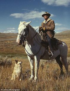 Shepherd with Dog, 1942 Photo Credit: Library of Congress Photographer Russell Lee captured this shepherd with his horse and dog on Gravelly Range, Madison County, Montana in August 1942 Westerns, Horses And Dogs, All Dogs, Old Illustrations, Illustration Art, Photo Animaliere, Madison County, Le Far West, Dog Training Tips