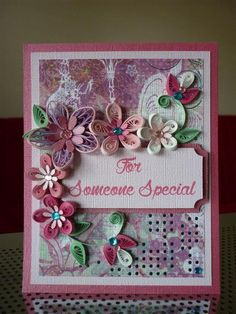 "Handmade Greeting Pink Purple Paper Quilling Card ""For Someone Special "" with Quilled Flowers (Birthday, Anniversary) by FromQuillingWithLove"
