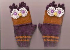 Owl Wrist Warmers Fingerless Gloves Ladies Teens Purple Red Knitted Sz Small | eBay