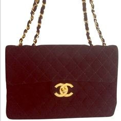 5789168a85a1 Chanel W Code Quilted Flap Gold Chain Cc Turn Lock Jumbo Large Cloth Shoulder  Bag off retail