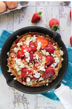 Switch up your usual breakfast routine with this strawberry almond sweet frittata! Perfect for breakfast, brunch, or a simple dessert! Gluten free, low carb, with a dairy free option
